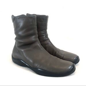 Prada Sport Gray Leather Side Zip Ankle Boots 39